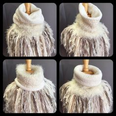 Handmade knit cowl, couture reversible knit fringed neckwarmer https://www.etsy.com/listing/549604762/handmade-knit-fur-reversible-ivory-cowl
