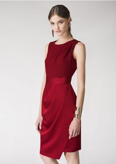CLOSET LONDON Red Draped 2-in-1 Pencil Dress