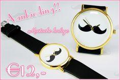 Mustache horloge (snorren horloge, moustache watch) H0026
