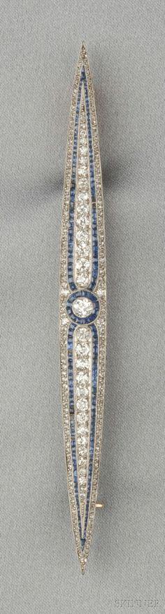 Tendance Joaillerie 2017   Art Deco Platinum Sapphire and Diamond Brooch   Sale Number 2610B Lot Number 644   Skinner Auctioneers