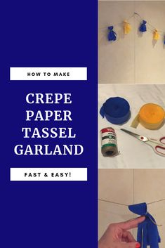 This post shares how to make an easy and budget-friendly type of tassel garland made with crepe paper. It's a fun and festive party decoration. Graduation Decorations, Graduation Party Decor, Graduation Invitations, Diy Party Decorations, Graduation Parties, Party Themes, Graduation Ideas, Birthday Parties, Party Ideas
