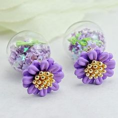 Flower #Double #Faced #Stud #Earring, with Painted, More Colors.