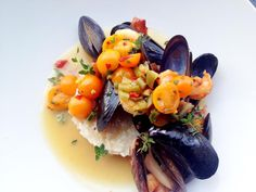 That is so beautiful! I am hungry now! Sauteed Mussels, Laughing Bird Shrimp, Charleston Gold Rice, Ham and Beer Broth + Tomato Relish - Pachamamas http://kcrestaurantguide.com/html/restaurant=204