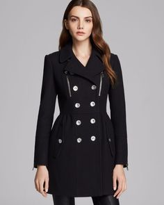 "Burberry black wool coat. Front zip pockets, side button-slit pockets, upper back storm flap, back vent, lined. COLOR BLACK. arm length 23.5"". accross chest 16"" back is 16"" length 31"". SIZE 4 EU 36 USA 2. 
