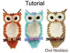 Jewelry Making - Beading Pattern - Beaded Owl Necklace Tutorial - Brick Stitch - Fall Autumn - Simple Bead Patterns - Owl Necklace Owl Patterns, Peyote Patterns, Beading Patterns, Mosaic Patterns, Knitting Patterns, Embroidery Patterns, Crochet Patterns, Color Patterns, Jewelry Making Tutorials