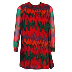1960's Pierre Cardin Psychedelic Pleated-Silk Mini Mod Dress | From a collection of rare vintage day dresses at http://www.1stdibs.com/fashion/clothing/day-dresses/