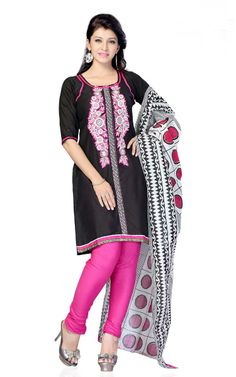 BLACK & PINK COTTON SALWAR KAMEEZ - DF 101