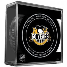 2017 NHL Pittsburgh Penguins - 50th Anniversary Official Game Puck with Case
