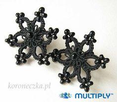 Shuttle Oyasından Jewelry / tatted Jewellery: black lace flower earrings