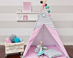 Teepee play tent is a great hiding place for your child at any time of the year. You can enjoy it at home, on the terrace, balcony or garden. Decorate any interior and give comfort.  The tent is lightweight and easy to assemble, so you can freely move and rearrange. Made up of two color fabrics. It has a charming window, and commonly established laps. Inside it has 2 pockets for treasures of your child. It includes free of charge decorative pendant!  For sale is teepee set Candy Star, which…