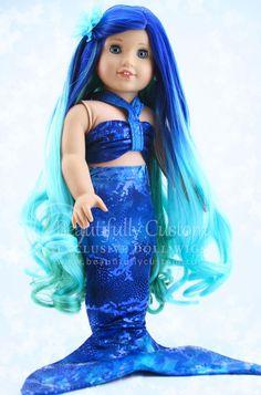 Seafoam Mermaid Doll Wig (Blue Green Ombre Hair) for Custom American Girl Dolls: Beautifully Custom Exclusive Ropa American Girl, Custom American Girl Dolls, American Girl Crafts, American Girl Clothes, Girl Doll Clothes, Barbie Clothes, Doll Costume, Girl Costumes, Pixie