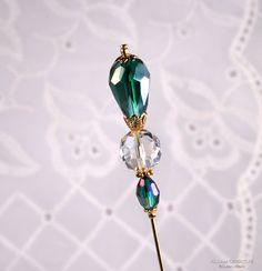 Peacock Green 3 Inch Crystal Stick Pin, Hat Pin, Scarf Pin, Hijab Pin KC0383 via Etsy