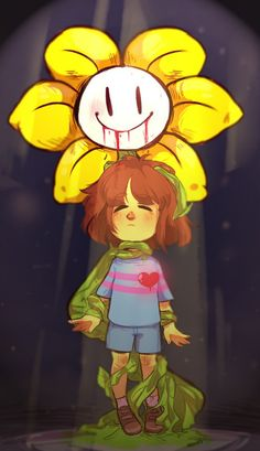 Undertale Flowey and Frisk by radicles-artsy