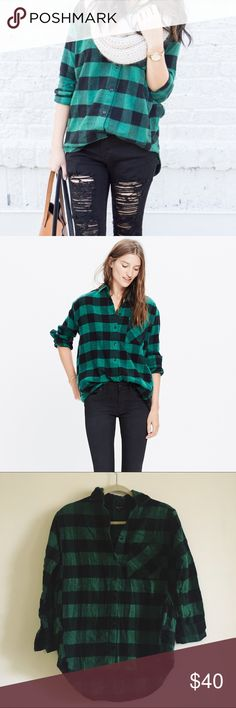 Madewell green flannel buffalo check Like new condition. Only wore this once. Really soft and comfortable! Sold out on Madewell. Madewell Tops Button Down Shirts