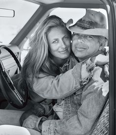 Ricky and Ralph Lauren posed for this portrait from inside a pickup truck on the Double RL Ranch