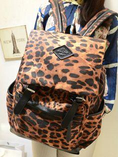 stacy bag hot sale popular women leather backpack female Leopard printing travel backpack ladies vintage travel bag schoolbag $13.00