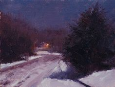 January Moonlight by Marc Hanson Oil ~ 9 x 12