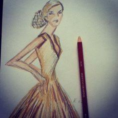 #art #artist #derwent #pencil #drawing #sketch #style #fashion #illustration #blonde #hair #long #evening #dress #hairnet - @Karen Jacot Gardiner- #webstagram