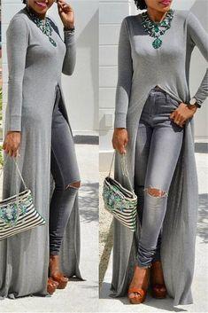 High Split Solid Color Dress - April 27 2019 at Over 50 Womens Fashion, Black Women Fashion, Fashion Over 50, Latest Fashion For Women, Casual Wear, Casual Dresses, Casual Outfits, Fashion Outfits, Fashion Ideas