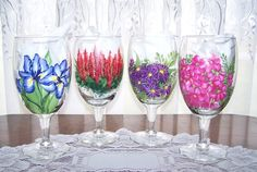 Floral Glasses Hand Painted  set of 4