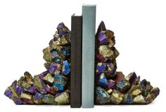 "Kathryn McCoy | Pair of Peacock Pyrite Bookends | natural material, natural variations will occur | 9""h x 7.5""w 