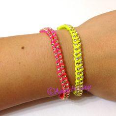 LIMITED EDITION Neon MINI Kau Sparkly Friendship Bracelet Set. $20.00, via Etsy.