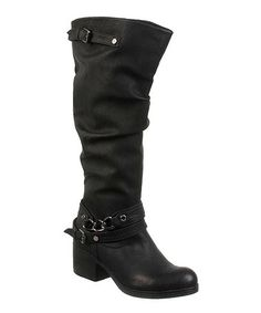 Another great find on #zulily! Black Cassie Wide-Calf Boot by Carlos by Carlos Santana #zulilyfinds
