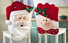 Set 2 Mr & Mrs Santa Claus Christmas Kitchen Dining Chair Covers NEW I4014