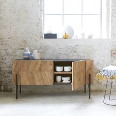 Tikamoon, interior furniture specialists, supply sideboards in high quality solid woof. Take a look at the Tikamoon online store. Solid Wood Sideboard, Solid Wood Furniture, Furniture Design, Side Board, Buffet Design, Rack, Interior Decorating, Interior Design, Dining Rooms