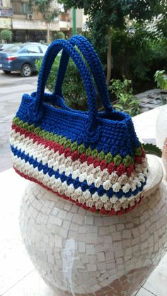 Crochet coloured bag