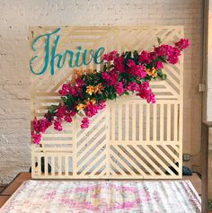 Organic Bougainvillea laser cut backdrop for wedding ceremony or conference set up. Designed by Bramble and bee.