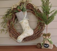 christmas wreath with stocking, holiday twig wreath