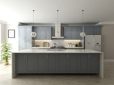 Storm Gray Cabinets by Kitchen Cabinet Kings Frameless Kitchen Cabinets, Kitchen Cabinet Door Styles, Kitchen Cabinet Kings, Shaker Kitchen Cabinets, Grey Cabinets, Kitchen Island, Painted Gray Cabinets, Cabinet Styles, Cabinet Ideas