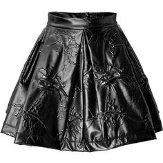 Kenzo Patterned Pleather Mini-Skirt (580 CAD) ❤ liked on Polyvore featuring skirts, mini skirts, bottoms, black, short black mini skirt, flared mini skirt, skater skirt, short mini skirts and black mini skirt