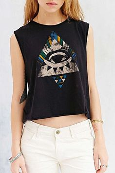 Colorful Triangle Print Sleeveless Tank Top