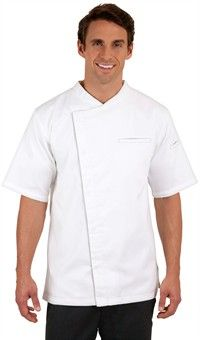 Traditional Fit Short Sleeve Chef Coat - Hidden Snap Front - 65/35 Poly/Cotton