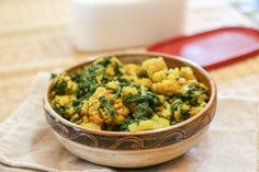 Palak Gobi Sabzi | Indian Style Cauliflower with Spinach