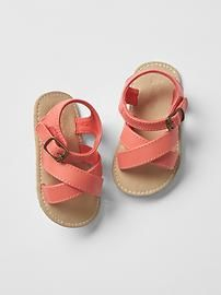 Crisscross sandals, gorgeous coral sandals for a baby girl from Gap