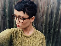 Faded undercut pixie haircut, vintage style, girls with glasses, Derek cardigan, vintage clothes