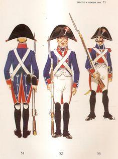 Spanish; Swiss Line Infantry, 1808. L to R Regt Wimpffen, Fusilier Front & Rear & Regt de Preux, Sergeant.