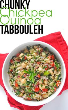 Love this. I used juice of 1.5 lemons and 3 T olive oil. Less than 1 tsp salt is best. Chunky Chickpea Quinoa Tabbouleh | Emilie Eats; see also: http://thepigandquill.com/2015/02/04/quinoa-chickpea-tabbouleh-gf-vegan/ for variations on dressing