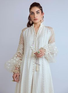 Show details for Imaan - Luxe Cotton Net Panelled Flared Shirt Beautiful Pakistani Dresses, Pakistani Dresses Casual, Pakistani Bridal Dresses, Pakistani Dress Design, Formal Dresses, Ethnic Trends, Dress Indian Style, Indian Wear, Simple Dresses
