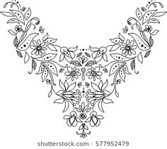 black and white isolated collar neck lace embroidery textile floral leaves dots doodle ornament vector on white