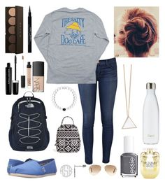 """OOTD"" by bowhunter1498702 ❤ liked on Polyvore featuring J Brand, Hanes, TOMS, Victoria's Secret, S'well, The North Face, Vera Bradley, Essie, Ray-Ban and Givenchy"