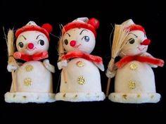 3 Vtg Xmas Cotton Spun Chenille Snowman w Broom nos Japan | eBay