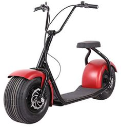 Electric Lifestyle Fat Tire Scooter Hub Motor E-Bike Bicycle (Red) -- Learn more by visiting the image link. Cheap Electric Scooters, Best Electric Scooter, Electric Bicycle, Scooter Design, Bike Design, Motorized Bicycle, E Scooter, Bike Seat, Cool Bikes