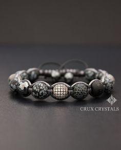 Sneeuwvlok obsidiaan Mens armband edelsteen kralen armband