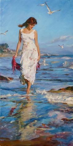 Handmade Beautiful Woman Painting Spring Time Peinture Originale par Michael et Inessa Garmash Seascape Oil Painting Canvas Xenia D. Woman Painting, Figure Painting, Painting Canvas, Painted Ladies, Beach Art, Beautiful Paintings, Artist At Work, Figurative Art, Female Art
