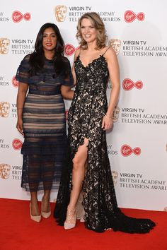 Charlotte Hawkins Photos Photos - Charlotte Hawkins (R) and Tina Daheley pose in the Winner's room at the Virgin TV BAFTA Television Awards at The Royal Festival Hall on May 14, 2017 in London, England. - Virgin TV BAFTA Television Awards - Winner's Room
