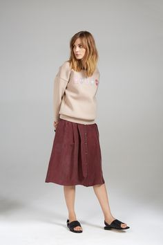 BADGE SWEATER AND SILKY HIGH WAIST SKIRT Waist Skirt, Midi Skirt, High Waisted Skirt, Badge, Women Wear, Contemporary, Skirts, Sweaters, Collection